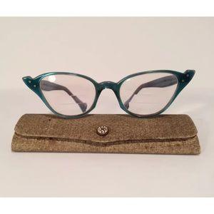 vintage kono eyeglasses cat eye blue